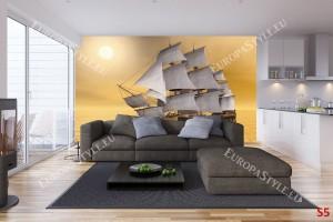 Фототапет старинен ветроходен кораб в жълто