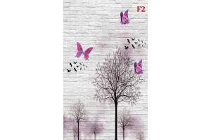Фототапет дизайнерски модел с пеперуди на бяла тухлена стена