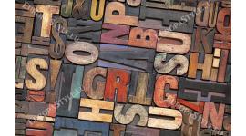 Фототапет цветни бетонови букви диагонални в 2 цвята