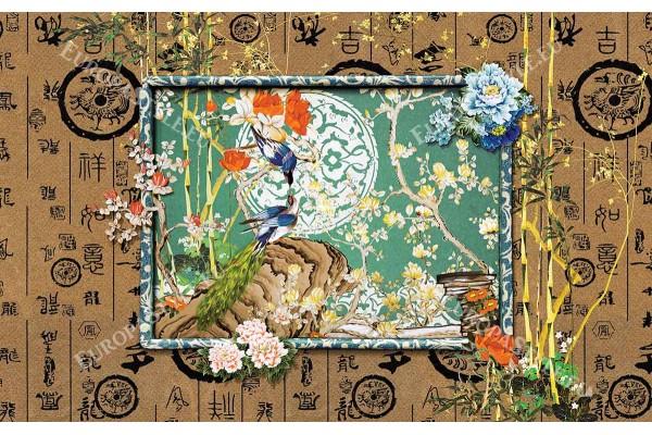 Фототапет стена от кокос с китайски флорални мотиви