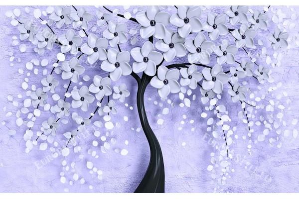 Фототапет 3D арт дърво в бяло черно и лилаво