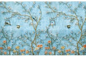 Фототапети японска дизайнерски модел с цветя и птички в 2 цвята