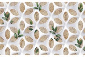 Фототапет триизмерна фигурална стена с бели орнаменти на дървена основа