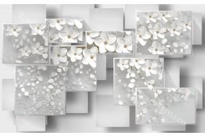 Фототапет 3д ефект дизайнерски модел геометричен с бели цветя 2 варианта