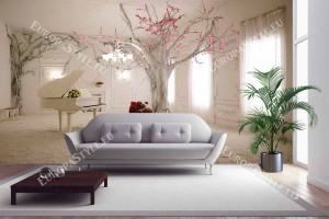 Фототапет пространствена стая дизайн с пиано и розово дърво