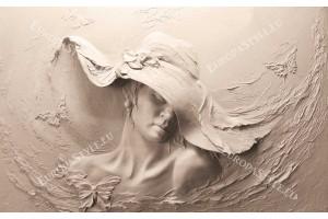 Фототапет 3д визуализиран модел жена с шапка