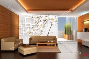Фототапет геометричен с 3д ефект бяло дизайнерско дърво 2 цвята