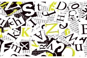 Фототапети арт колаж от букви в 2 цвята