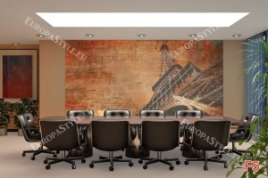 Фототапети арт стена с надписи и Айфеловата кула в оранжево