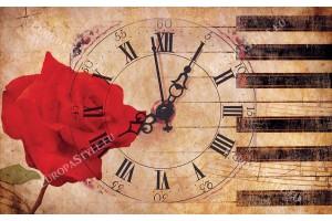 Фототапети композиция часовник червена роза ретро винтидж