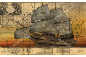 Фототапети старинна карта с кораб ветроход