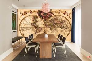 Фототапет състарена карта на света с цвят