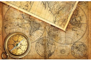 стара карта винтидж с компас 2