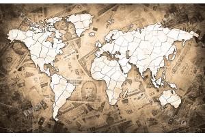 модерен дизайн на карта на света в черно и бяло