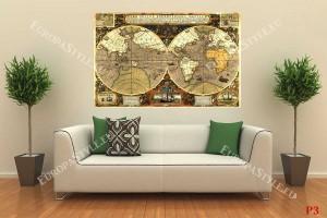 уникална ретро карта на света с елементи в 2 цвята