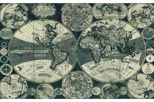 Фототапет стара ретро карта на света в кафяво и зелено