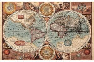 Фототапет старинна карта на света син нюанс