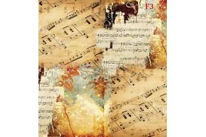 Фототапет винтидж модел с музикални ноти композиция