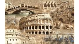 Фототапет винтидж колаж сгради Италия