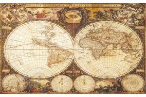 Фототапет старинна карта на света в ретро рамка