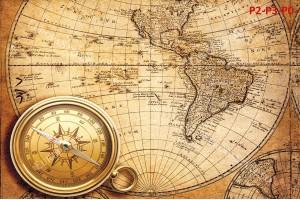 Фототапет антична карта в оранжево и компас