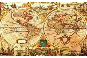 фототапети старинна карта на света оранжев нюанс