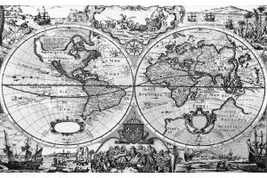 фототапети старинна карта на света в сиво