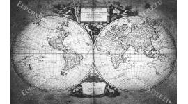 фототапети старинна карта на света в сиво 2