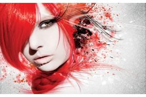 Фототапети арт лице в червено и сиво
