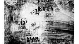 Фототапети арт лице с надписи в черно и бяло