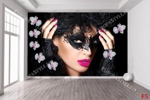 Фототапет арт модел на жена с грим и цветя