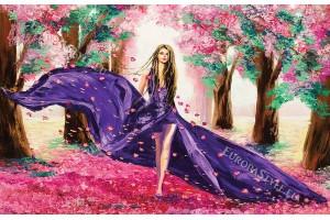рисувана фигура на жена в лилава рокля