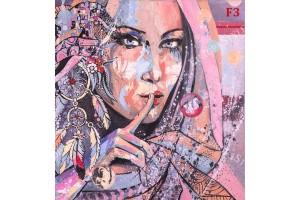 рисувана картина ориенталски стил лице в 2 цвята