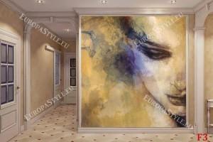 Фототапет рисувано женско лице в жълто