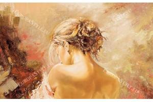Фототапети рисувана картина женски портрет в 2 цвята