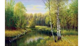 Фототапети картина брезова гора и езеро пейзаж