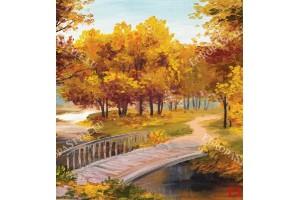 Фототапети картина есенна гора и мост