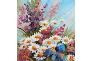 Фототапети букет от нежни рисувани цветя