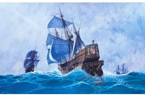 Фототапет старинен ветроходен кораб живопис