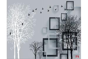 Фототапети арт композиция с 3д ефект дърво графика