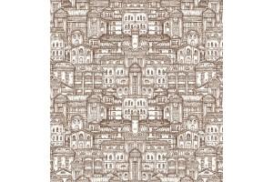 Фототапети графика старинни сгради в 2 цвята