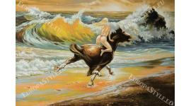 Фототапети арт картина с препускащ кон и жена