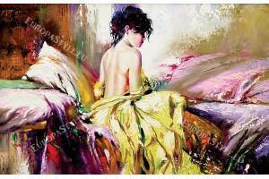 Фототапети рисувана картина жена с рокля волани