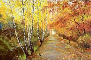 паркова алея есен с брези рисувана картина