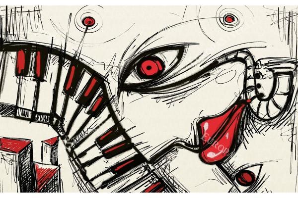 Фототапет модерна графика в черно и червено поп арт