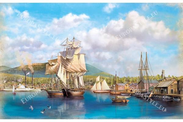 пристанище с кораби ветроходи рисуван пейзаж