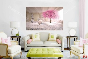 рисувана дизайнерска картина с розово дърво