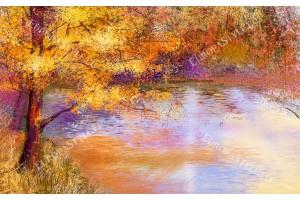 Фототапети цветна рисувана картина дърво край езеро