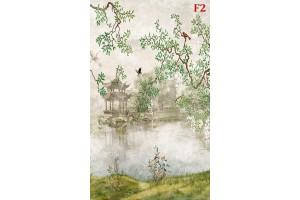 Фототапет от рисуван японски пейзаж с езеро дървета и птици