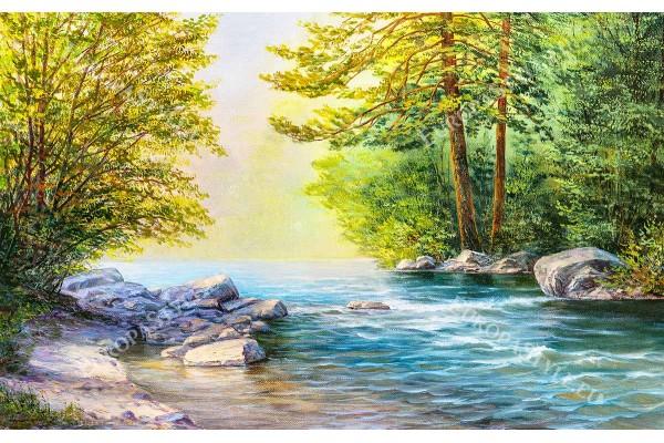 Фототапети от картина рисуван пейзаж гора с езеро